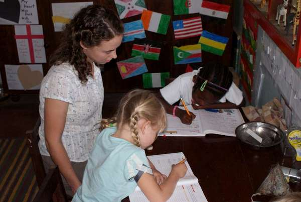 Abby & Katie practicing handwriting