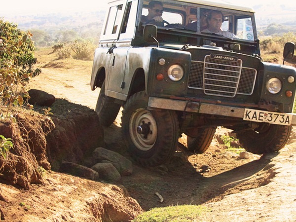 the Rift Valley of Kenya, demonstrating the less-than-ideal roads of Africa
