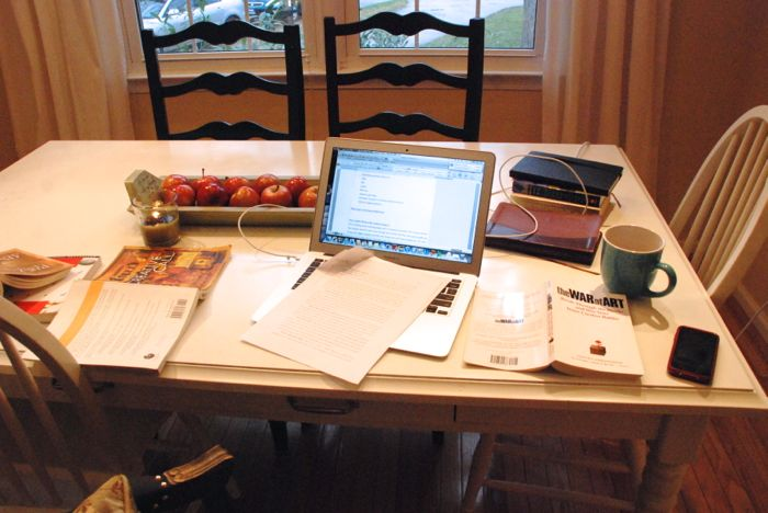 Emily's writing space, #3 (the kitchen table, of course!)