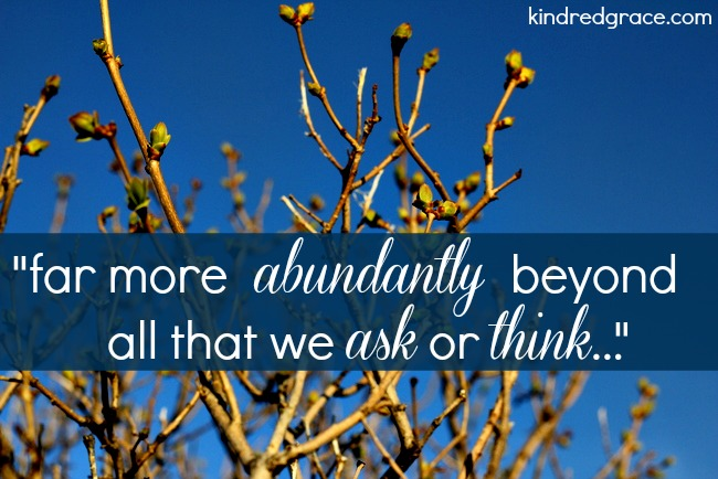 far more abundantly beyond all that we ask or think...