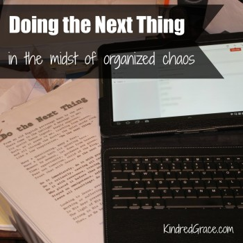 Doing the Next Thing (in the midst of organized chaos)