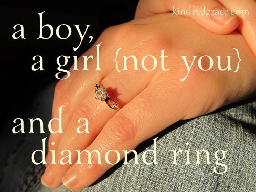 a boy, a girl {not you} and a diamond ring on @KindredGrace