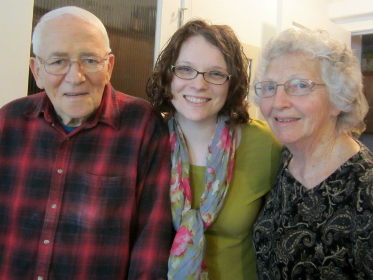 With Grandpa and Grandma in March, when I saw him last...