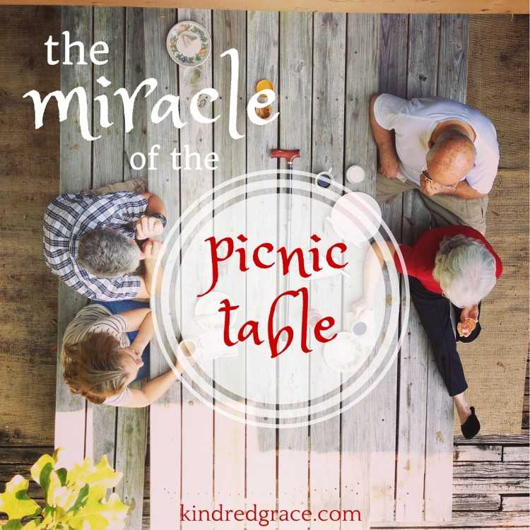 """""""the miracle of the picnic table"""" kindredgrace.com"""
