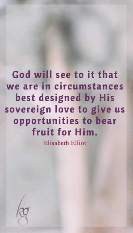 God will see to it that we are in circumstances best designed by His sovereign love to give us opportunities to bear fruit for Him. (Elisabeth Elliot)