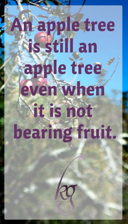 The apple tree in itself reveals a great mystery. Is it merely an apple tree only when bearing fruit? Hardly. Its identity remains the same in that long dormant season the Lord intended for maturation, as in the ordained time of fruit-bearing.