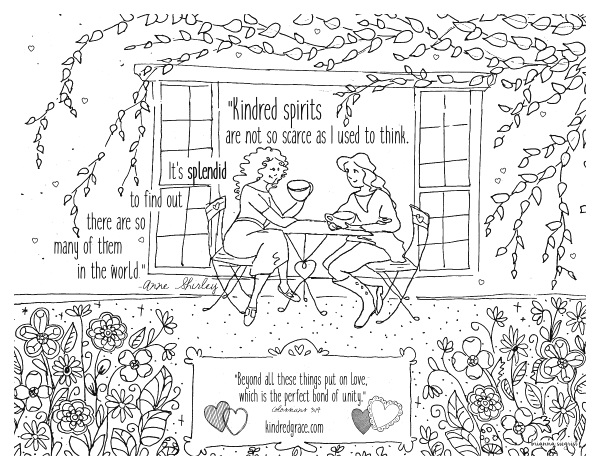 Kindred Spirits Coloring Page made for Kindred Grace by Brianna Siegrist