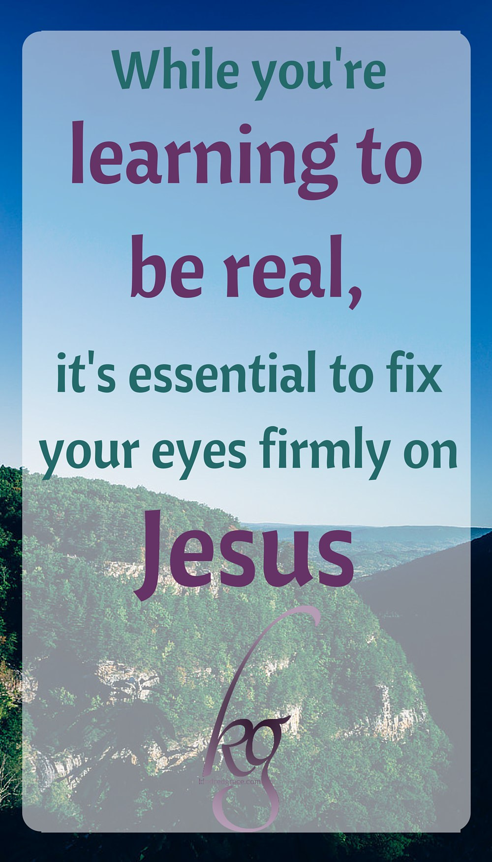 It was only when I fixed my eyes far ahead, on the middle of the road, that I was able to drive smoothly and confidently. While you're learning to be real, it's essential to fix your eyes firmly on Jesus. via @KindredGrace