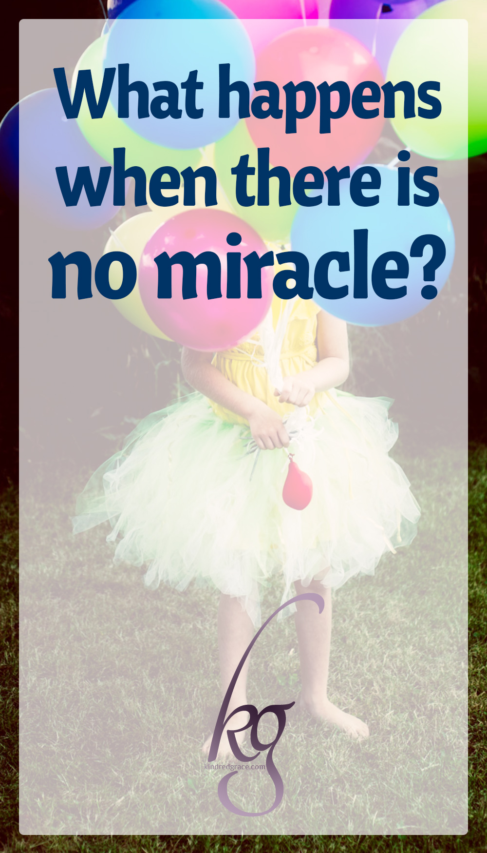 My son was dying and the weight of that reality meant I did everything to keep him alive while praying for a miracle. But what happens when there is no miracle? No immediate healing? No answer in the long darkness? via @KindredGrace