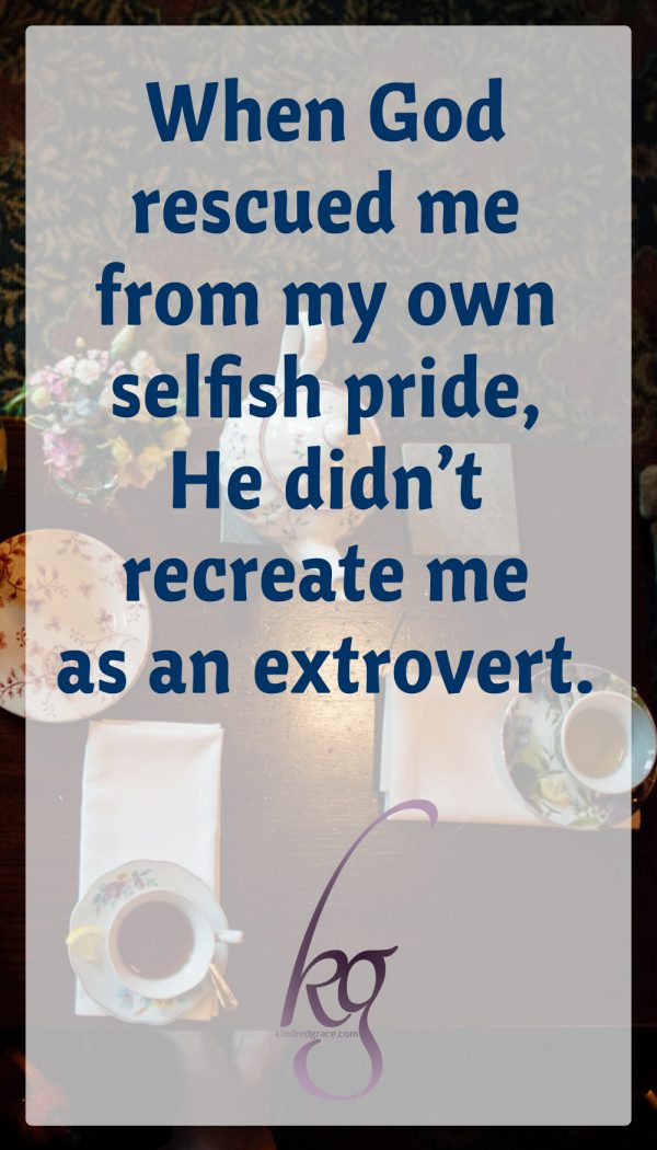 When God rescued me from my own selfish pride, He didn't recreate me as an extrovert. I still prefer small groups. I still struggle with initiating, with making small talk, with drawing others into the conversation. But as an introvert who loves people, I have learned that the vast majority of people really just need (and in fact may be desperately longing for) a listening ear. To listen is to give an enormous gift.