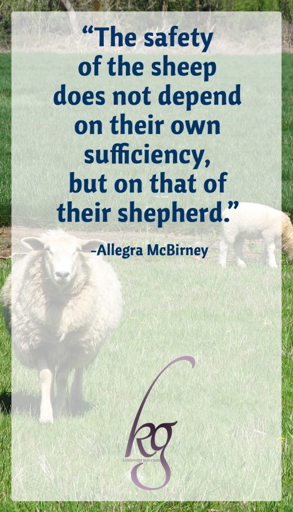 """The safety of the sheep does not depend on their own sufficiency, but on that of their shepherd."" (Allegra McBirney)"