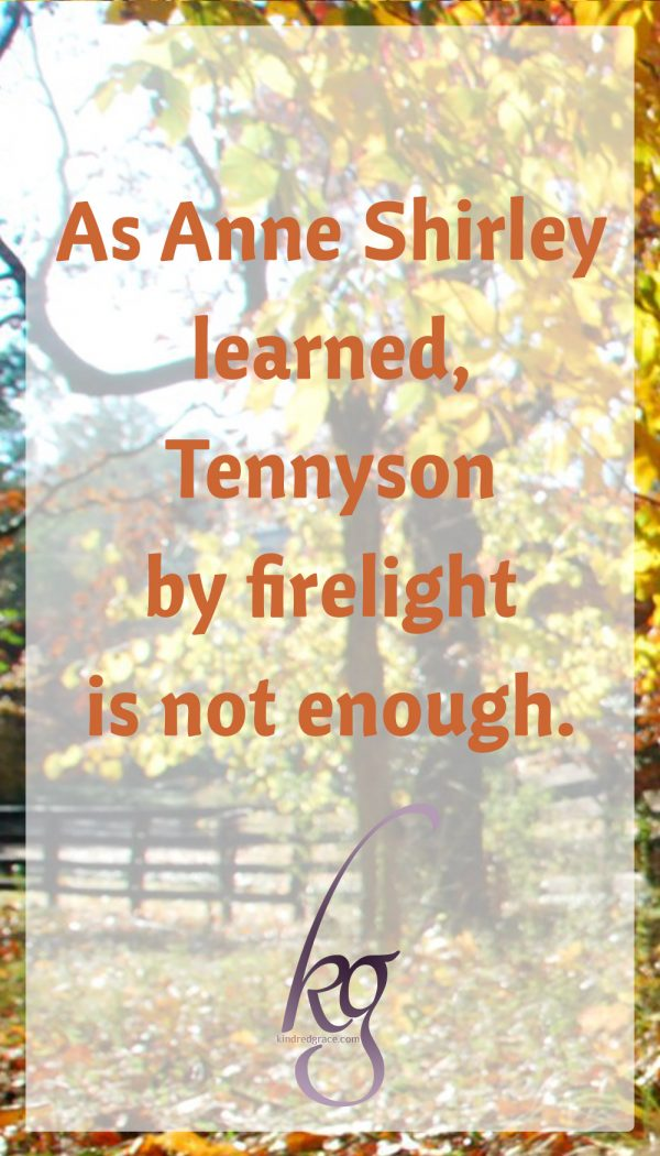 As Anne Shirley learned, Tennyson by firelight is not enough. Neither are glib quotations of Scripture. Neither is a degree from a Bible college or a record of 'high standards'. It is much easier to accrue a list of approved 'spiritual' credentials than it is to get up every day and try to live as Jesus would. Beware of the man that has not learned to control his feelings, his tongue, his hands.
