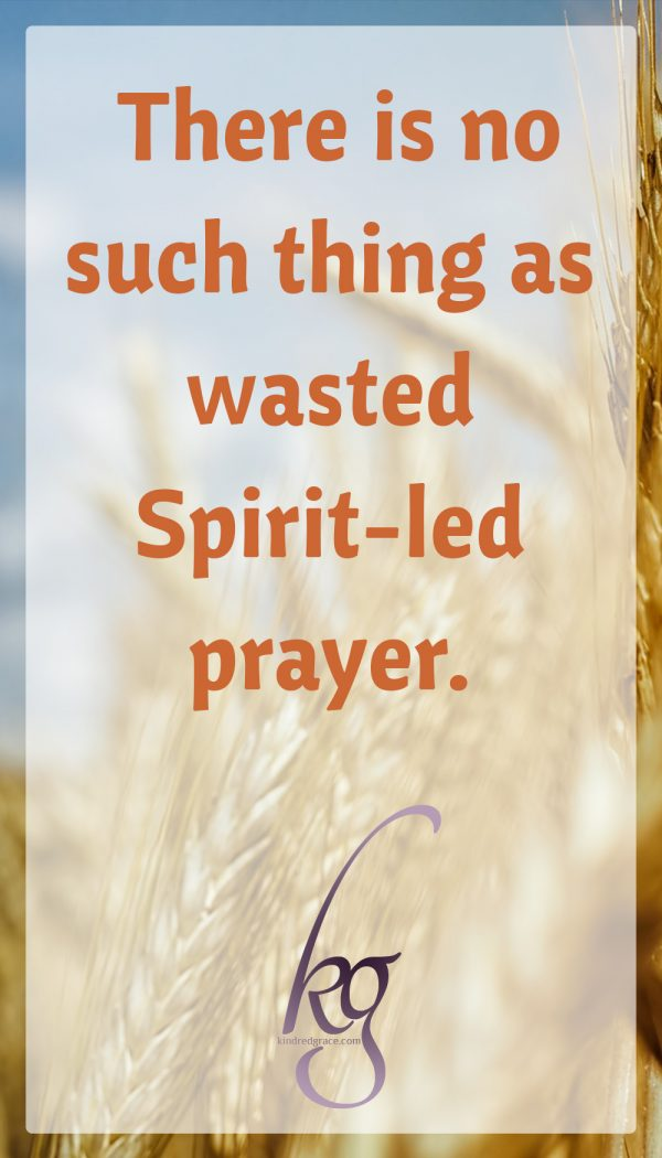 There is no such thing as wasted Spirit-led prayer.