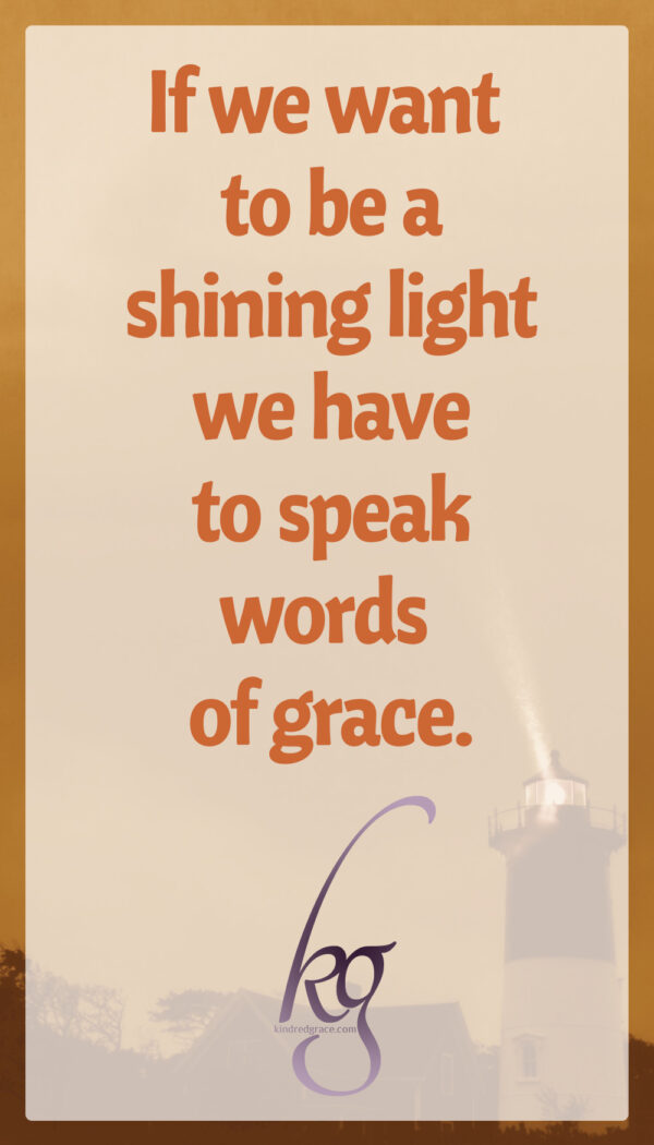 If we want to be a shining light in this dark time, we have to look past all that and speak words of grace